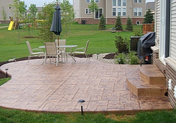 Back yard stamped patio in subdivision outside of Lansing, Michigan