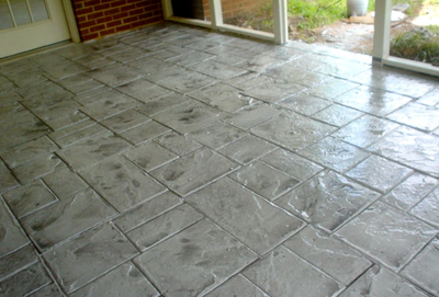 Indoor concrete patio made from stamped concrete in Indiana.